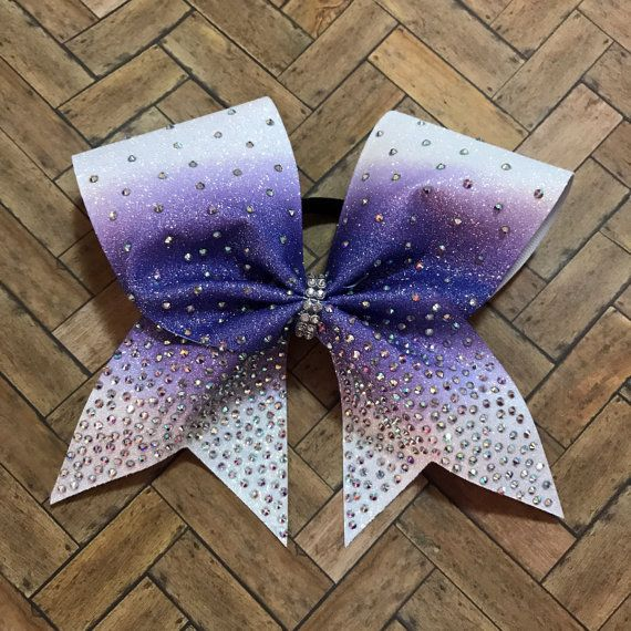 Rhinestone cheer bow purple bow cheerleader gift by BoldBOWtique