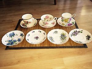 English Bone China  Set of 3 Assorted Tea Cups and Saucers - plus 4 Saucers