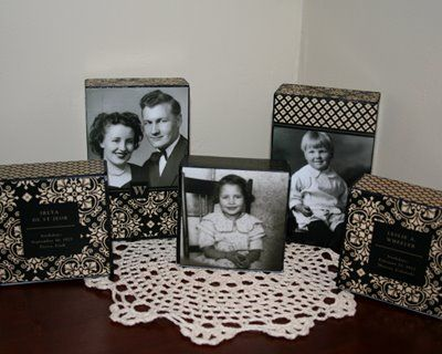 Block of wood, mod podge and photos: Wood Block, Heritage Maker, Families History, Cute Ideas, Heritage Block, Mod Podge Ideas, Families Photos, Old Photos, Wooden Block
