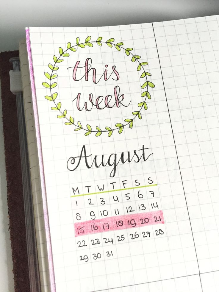 August 15 - New week, new spread! Here's a little detail from this week :)