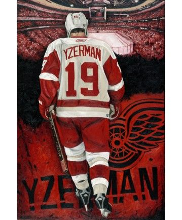 """Hockey Player Steve Yzerman """"Last Skate"""" Canvas Painting. Size: 24""""x36"""" Edition size: 99 Pieces. ~Done By Artist Justyn Farano~"""