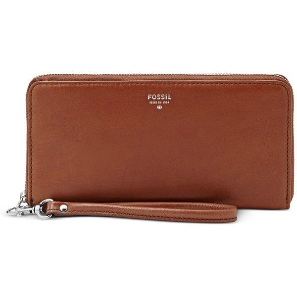 Fossil Sydney Leather Zip Clutch Wallet ($65) ❤ liked on Polyvore featuring bags, wallets, brown, brown bag, clutch wallet, zipper clutch wallet, brown wallet en pocket wallet