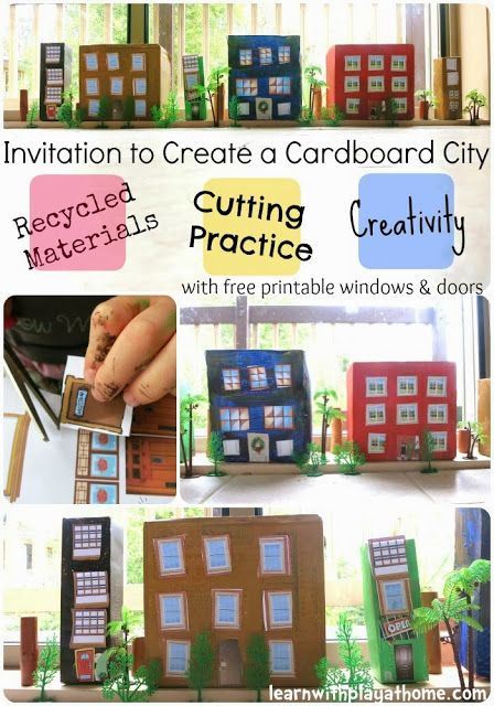 Learn with Play at home: Create a Cardboard City. Cutting practice and creativity for kids.  With free printable windows and doors to make your own!