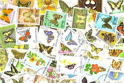 BUTTERFLIES -  50 used stamps