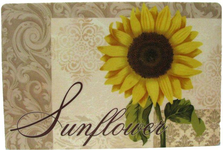 Sunflower themed Kitchen | Vinyl Placemats Popular Kitchen Table Design Assorted Theme Foam Back ...