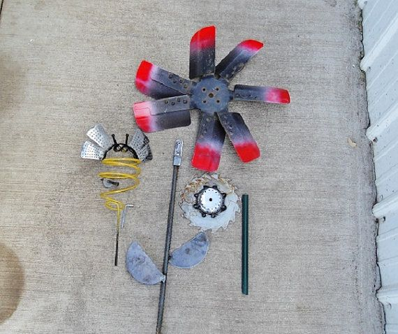 Large Fan flower w/Bee welded garden art by Sistersteel on Etsy