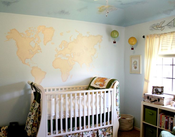 Travel-Themed Nursery with World Map Mural: Travel Theme,  Cots, Hot Air Balloon, Idea, World Maps, Projects Nurseries, Travel Nurseries, Gender Neutral Nurseries, Baby Nurseries