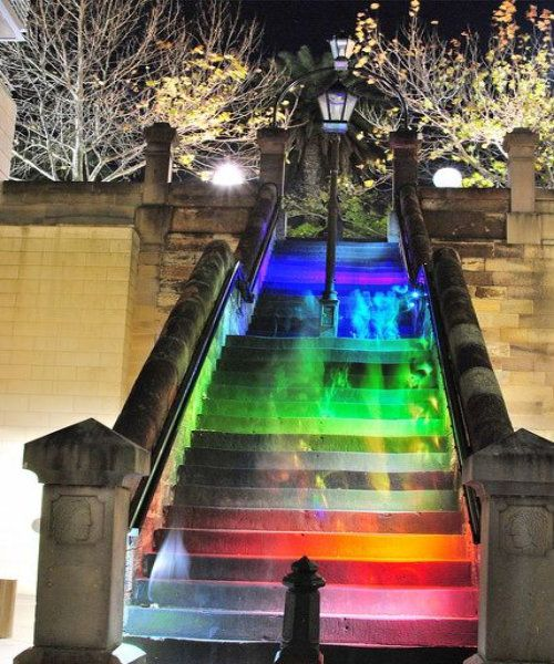 Hopscotch Stairs in Sydney:- The stairs light up when people walk on them