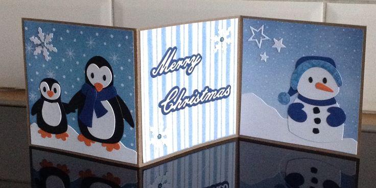 Laatst maakte ik tijdens een knutselmiddag met mijn dochter Linda deze drieluik kaart:       Ik vind de pinguïns en sneeuwpop zo leuk! En d...