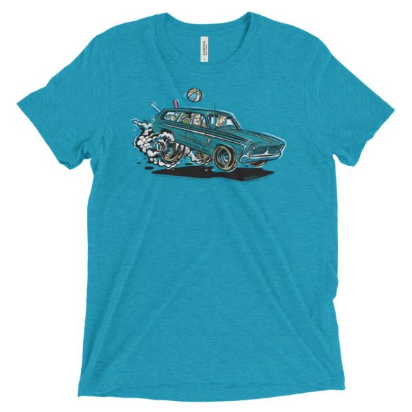 1966 Plymouth Fury III Station Wagon t-shirt. Love burnouts and going to the beach? Then this gearhead shirt is for you.