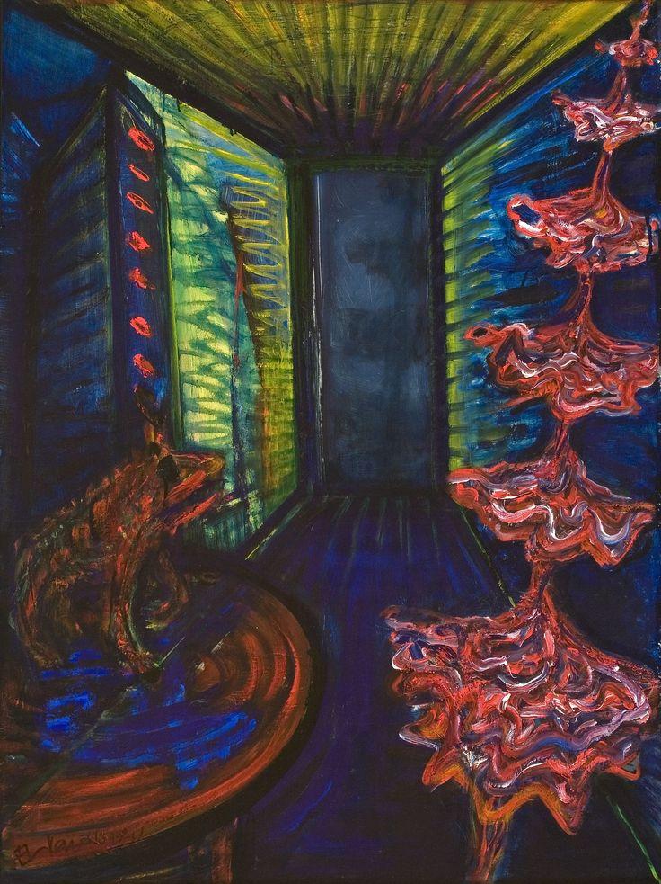 El Kazovszkij: Emeletes táncosnő 2./ Emeletes koppélia | Double-Storey Dancer / Double Storey Coppélia - 1988 - 80x60 cm - olaj, farost | oil on wallboard