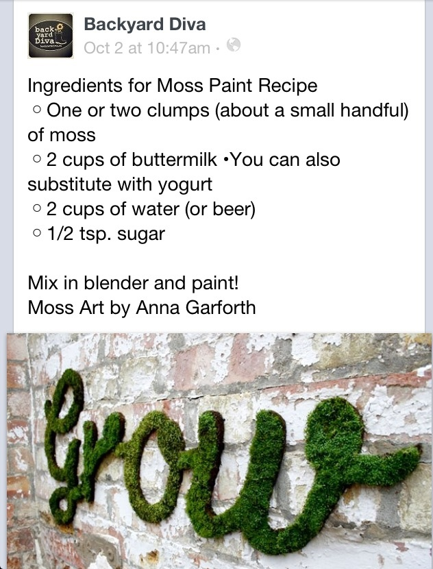 Moss paint from backyard diva via fb