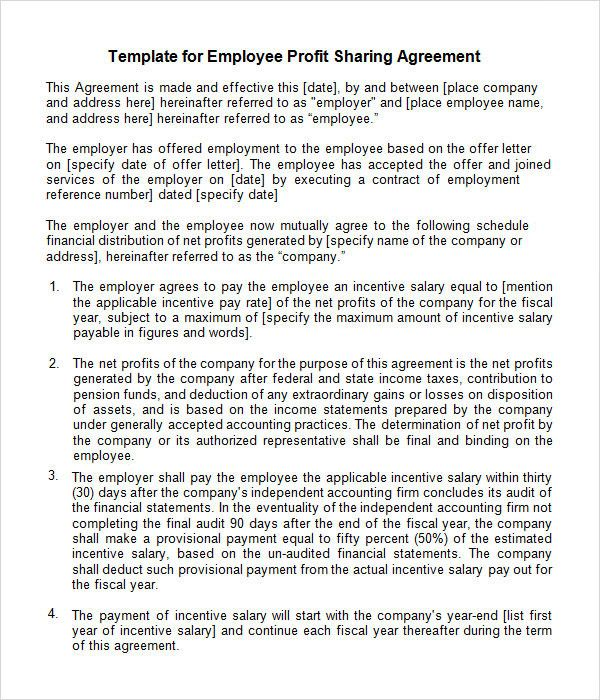 Profit Sharing Letter to Employees Inspirational Sample