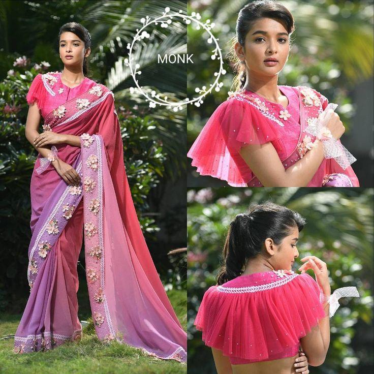 Beautiful pink color saree and designer blouse with cape semi cape. Saree and blouse with hand embroidery bead and kundan work.  28 November 2017