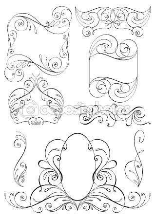 Ñalligraphic design elements. Frames by Megapixelina - Stock Vector
