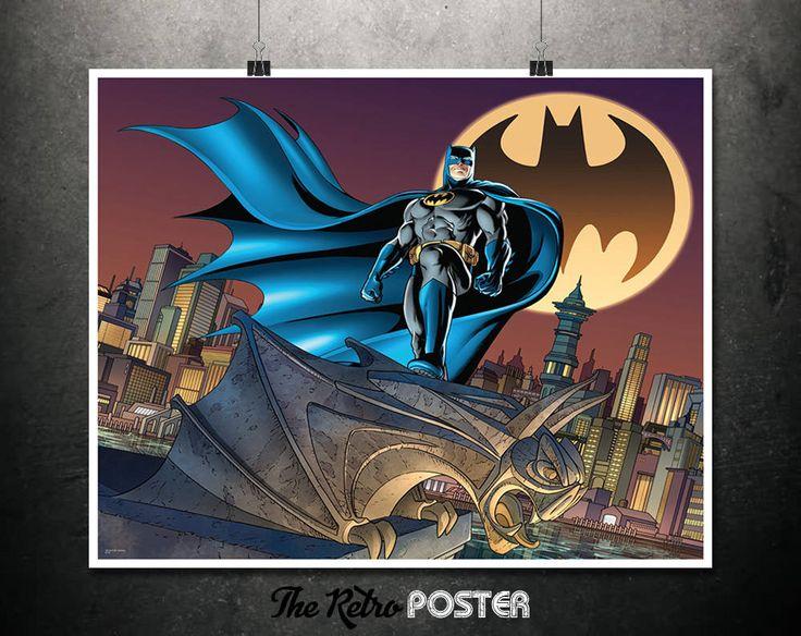Batman - Bat Signal - DC Comics, Batman Gift, Batman Print, Batman Poster, Batman Canvas, Batman Wall Art, Batman Decor, Batman Illustration by TheRetroPoster on Etsy