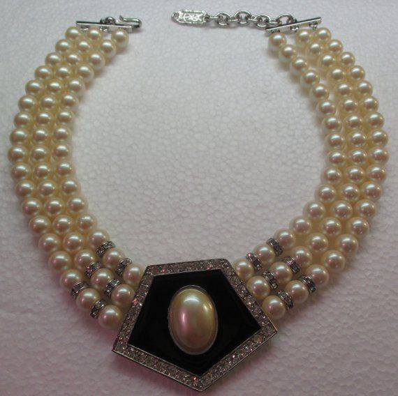 9a696e57c79 Vintage YVES SAINT LAURENT Pearl, Strass, and Black Lacquer Choker Necklace