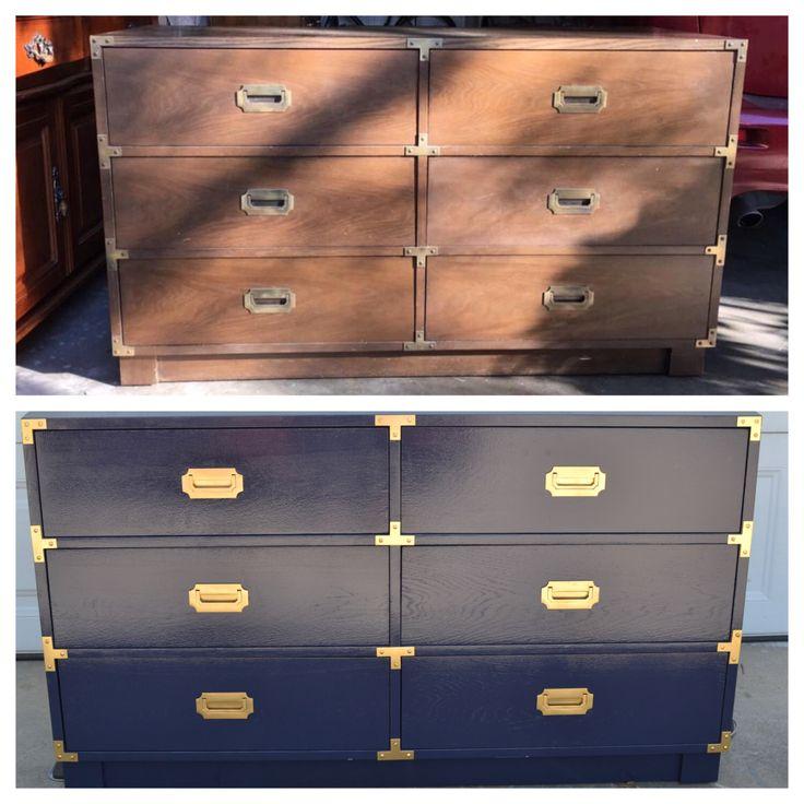 Campaign Dresser Portfolio - Glossy Painted Vintage Furniture by brasshipposhop on Etsy https://www.etsy.com/listing/399587689/campaign-dresser-portfolio-glossy