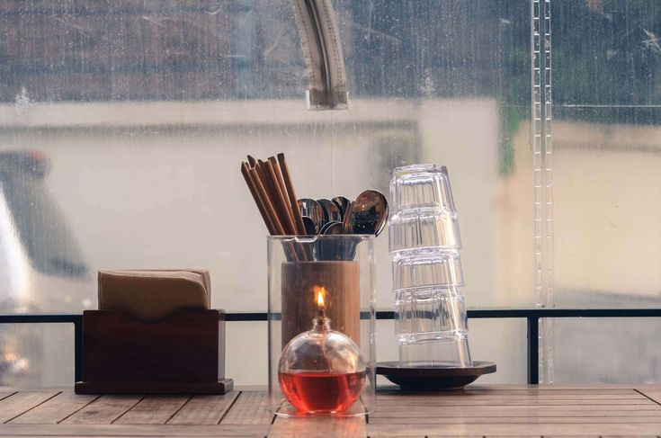 #candlelight #chopsticks #day #glasses #restaurant #rustic #seoul #south korea #stainless steel #table #table napkins #utencils #wood