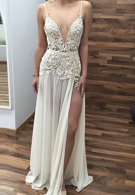 white v neck lace long prom dress, lace evening dress for teens
