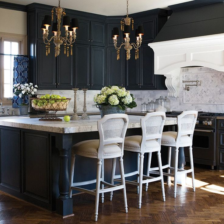 I really like this idea black cabinets may make the for Grey blue white kitchen