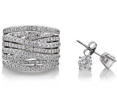 We love this Diamonelle Multi Row Crossover Ring & Earrings Set! They're both beautiful, classic and will never go out of style.