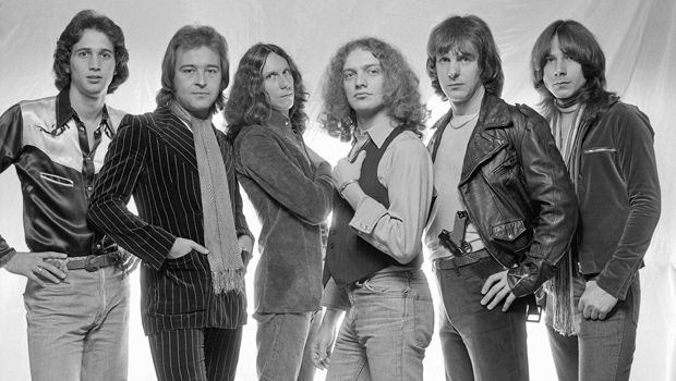 The original band members of the rock band Foreigner in New York City, 1976. From left: Ed Gagliardi, Mick Jones, Dennis Elliott, Lou Gramm, Ian McDonald and Al Greenwood. LEN DELESSIO/GETTY IMAGES