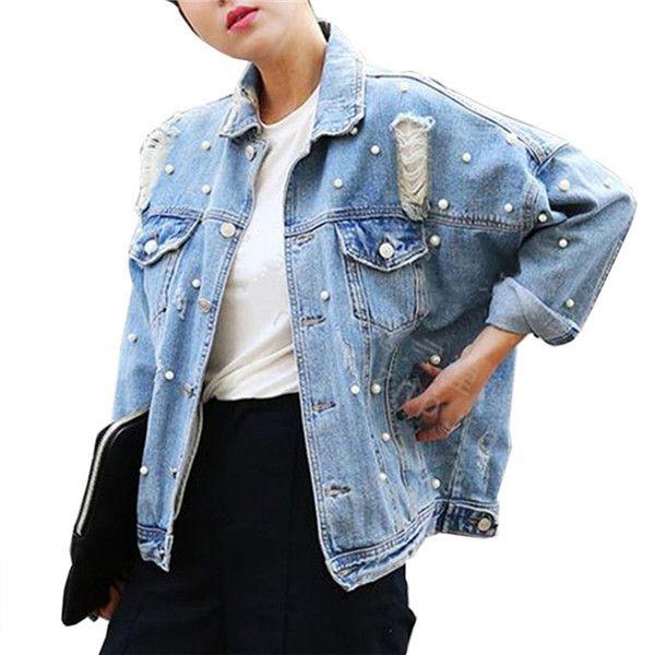 Casual loose elegant women spring autumn beading pearls hole jean jackets single breasted wide-waisted denim jacekt coat outwear
