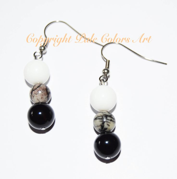 Black White Stone Earrings,Neutral Earrings,Semiprecious Agate Stone Earrings,Stainless Steel Hypoallergenic Non Tarnish  Ear Wires,