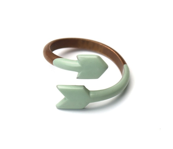copper & seafoam arrow ring