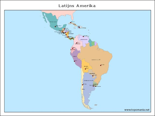 Kaart van Latijns Amerika. Midden- en Zuid Amerika.
