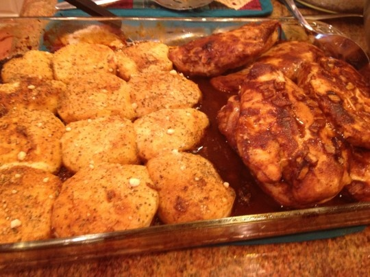 Oven Barbecued Chicken and Biscuits from I Can't Stay Out Of The Kitchen blog. AWESOME. Used 2 boneless skinless chicken breasts didn't need to bake longer after flip, 30 minutes total is fine. Cover chicken side of dish with foil to avoid drying out, then add biscuits, bake for 12 minutes... Perfection.
