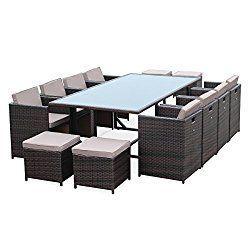 Grande table de jardin plateau verre 12 personnes. 99% Satisfaite du ...