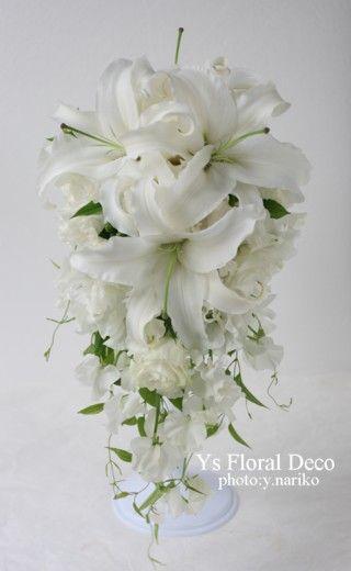 ユリとスイトピーのキャスケードブーケ @ウェスティンホテル東京 ys floral deco