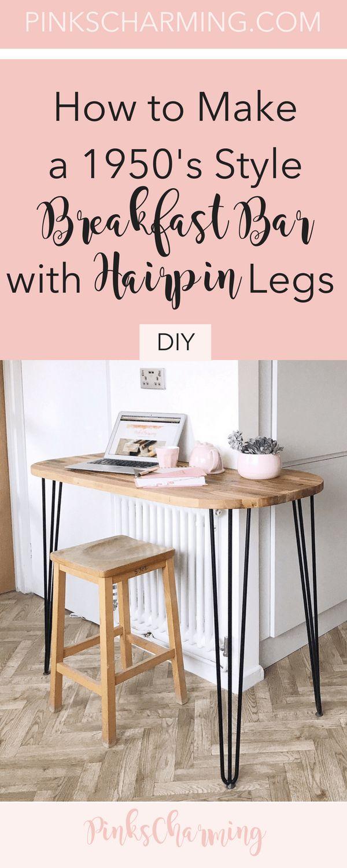 Mid century DIY hairpin leg table breakfast bar. Perfect for modern kitchen decor. #homedecor #kitchendecor #diyhomedecor