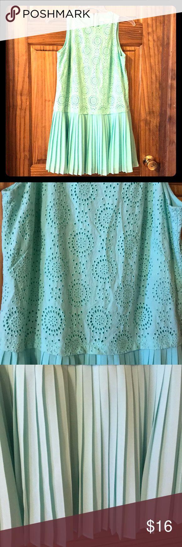 Mint green Ann Taylor Loft dress Beautiful mint green petite dress with pleated bottom and eyelet like top.  Like me new. Ann Taylor Dresses