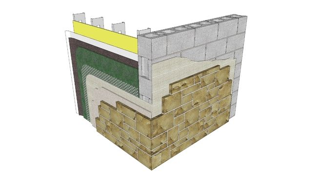 IMI Detail 03.070.2101. This adhered veneer detail shows two conditions: thin stone veneer at studs and sheathing backup, and thin stone veneer at CMU backup. The sheathing backup has two layers of weather resistive barrier (WRB), and a full-height drainage insert. The CMU backup is suitable for a direct-applied adhered veneer.  This detail is intended for the use of industry professionals who are competent to evaluate the significance and limitations of the information provided herein. This…