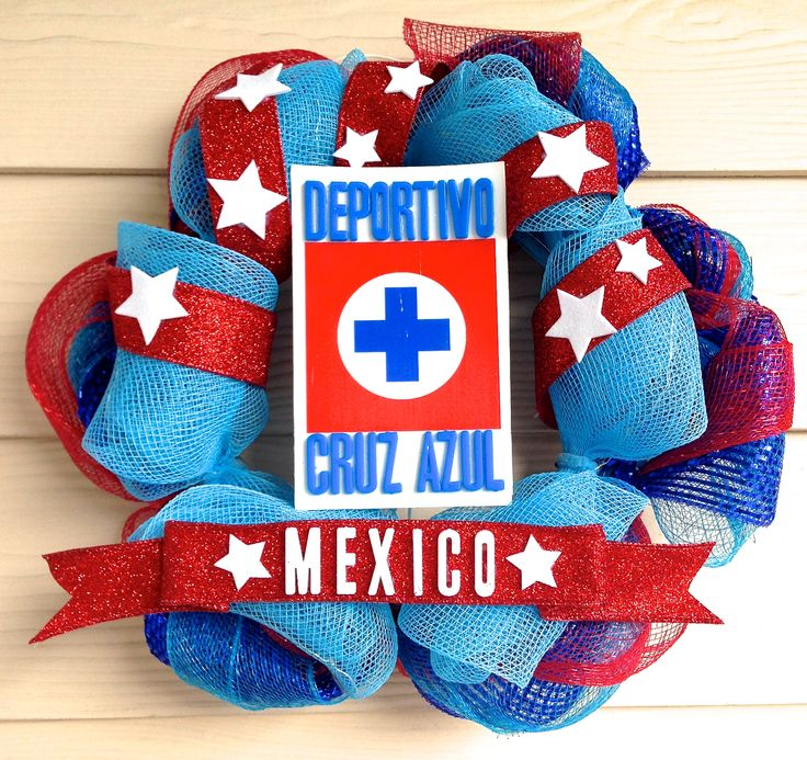 I made this Deportivo Cruz Azul wreath.  It's mostly deco mesh, and I lit it with a LED battery powered strand. The logo has raised letters  Mod-Podge.