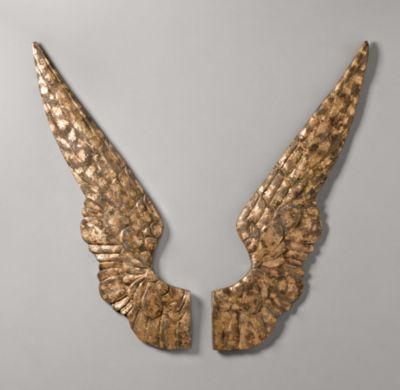 RH Baby & Child's Gilt Angel Wings:Casting directly from the originals allowed us to capture all the exquisite detail and artistry of one of our favorite vintage finds. The resulting resin sculptures are swathed in a lustrous antique gold finish, specifically chosen for its warmth and authentic looking patina.