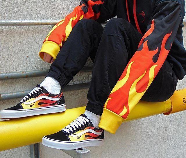 vans flames hombre
