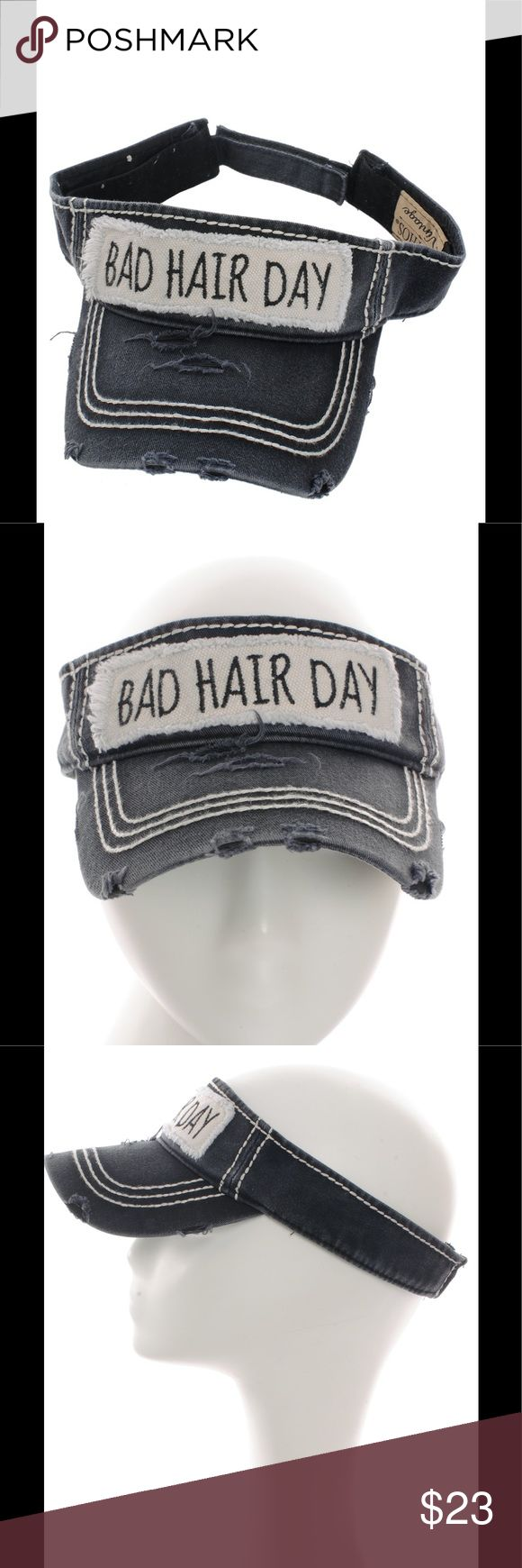 """Distressed Bad Hair Day Sun Visor Country Hat Check out our other hats and accessories and bundle!   Hat Brand NEW and not used!   SORRY NO TRADES! Embroidered Bad Hair Day Sun Visor Distressed Vintage Style Velcro Adjustable Back Material : 100% Cotton Size : 7.50""""(L) X 7.50""""(W) X 4""""(H) - Brim Length: 2.75"""" Accessories Hats"""