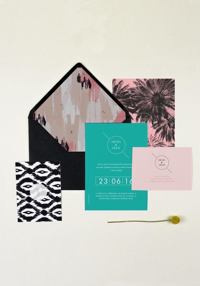 Collection Joshua Tree, pour un mariage esprit US avec palmiers et motifs navarro à retrouver sur la boutique : www.papierandco.com