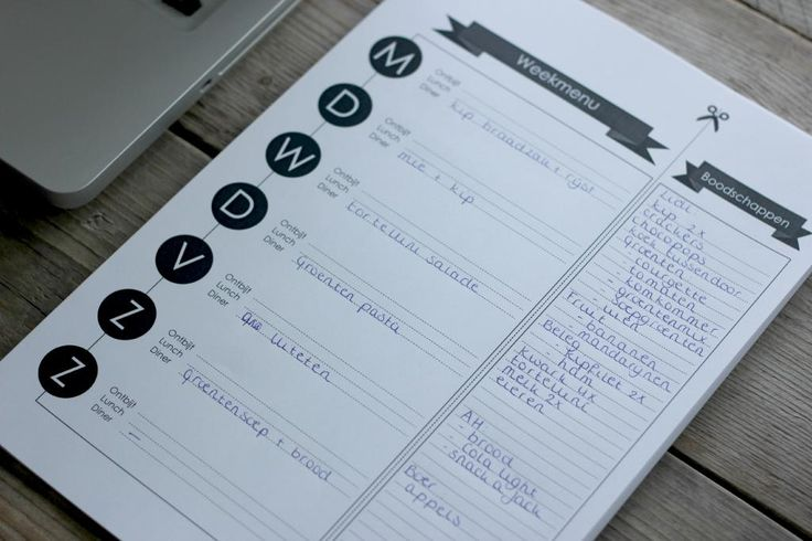 Free weekly meal planner printables (Dutch and English).