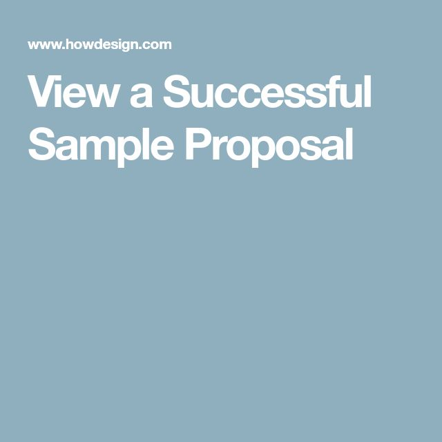 View a Successful Sample Proposal