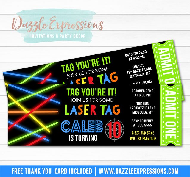 Printable Laser Tag Ticket Birthday Invitation | Glow in the Dark | Laser Gun Party | DIY Kids Arcade Party | Favor Tags | Cupcake Toppers | Food Labels | Banner | Signs | Party Package Decor Available!
