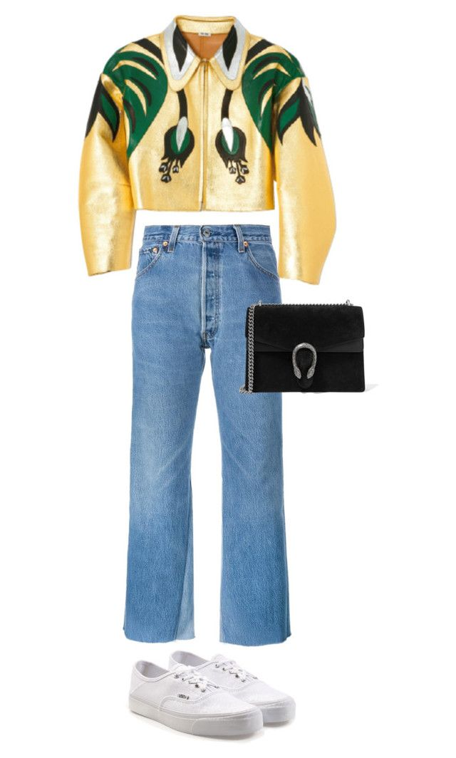 """Untitled #701"" by szudi on Polyvore featuring Miu Miu, RE/DONE, Gucci and Vans"