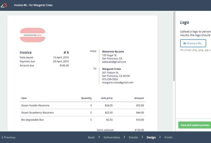 Baked goods invoice creator http://www.bakecalc.com/