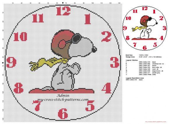 Ninos reloje con Snoopy patron punto de cruz