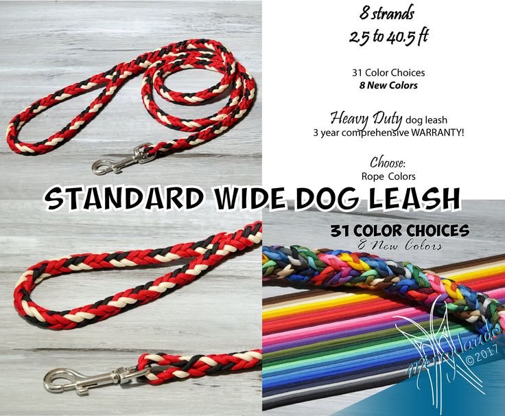 2.5 to 40.5 ft - Standard Wide Paracord Dog leash - 8 strands - Stainless steel - Heavy Duty - Customizable