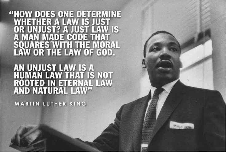 martin luther king just and unjust To disagree with king's distinction between just and unjust laws would be to simultaneously disagree with st augustine, st thomas aquinas, martin buber, and paul tillich--and probably others.